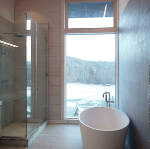 contemporary bathroom with large window