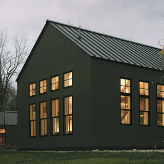 contemporary timber-framed cottage, the green houses, urban infill, resedential development, berkshires, massachusets, great barington, contemporary architecture