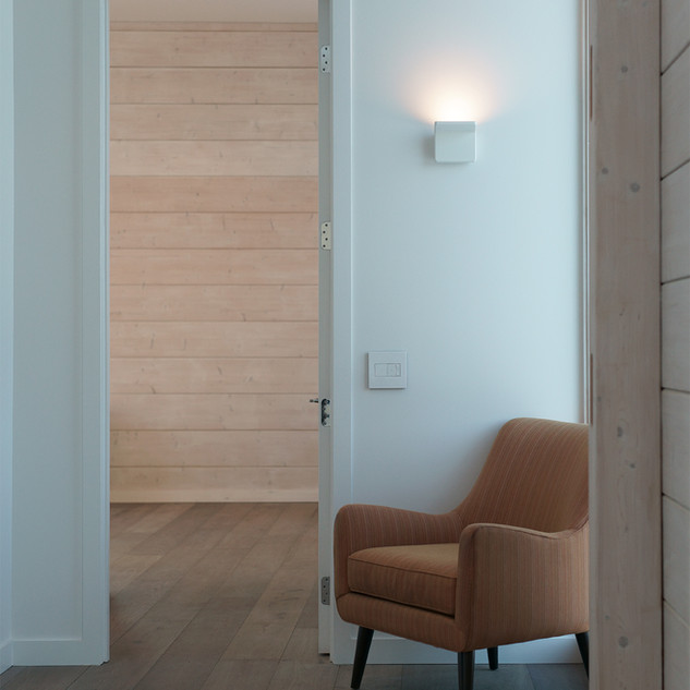 interior with far wall cross laminated timber logs