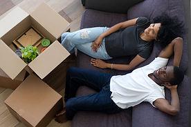 African american millennial couple relax