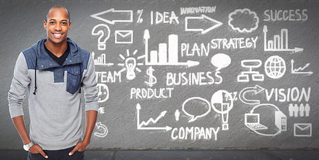 African american Businessman over business scheme background..jpg