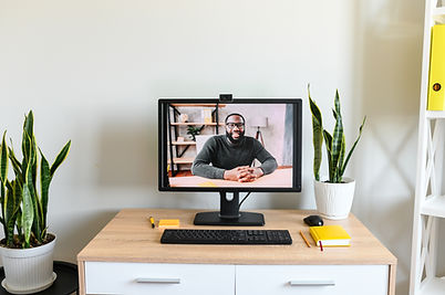 Virtual meeting with male employee or fr