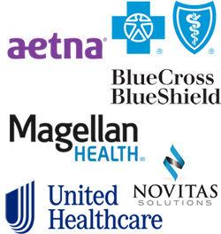 Montage of Aetna, BlueCross BlueShield, Magellan Health, United Healthcare, Novitas Solutions Logos