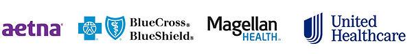 Montage of Aetna, BlueCross BlueShield, Magellan Health and United Healthcare Logos.