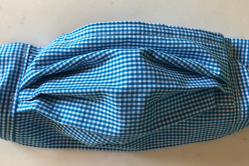 Turquoise and white small check gingham.