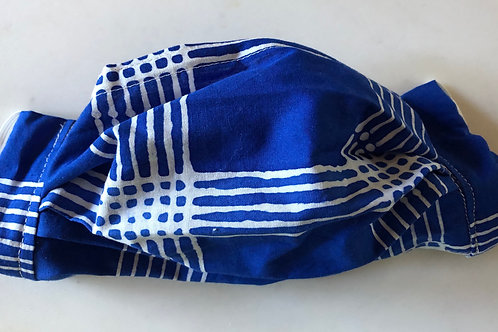 Bright blue batik with white lines