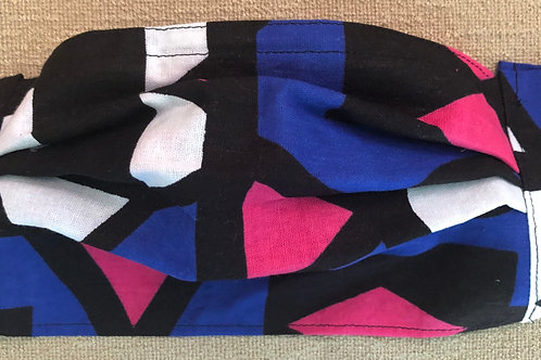Blue, black, pink and white geometric