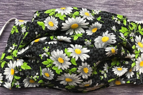 Black with white daisies