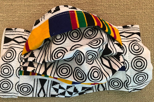 African print in primary colors and black & white
