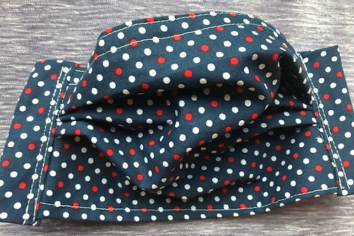 Red and white dots on navy