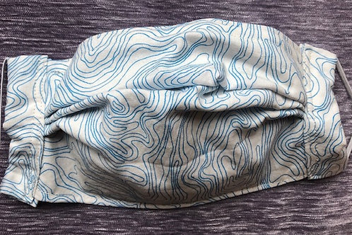 Blue topography on white