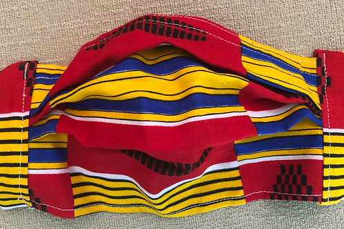 Multi stripe in yellow, red and blue with black design