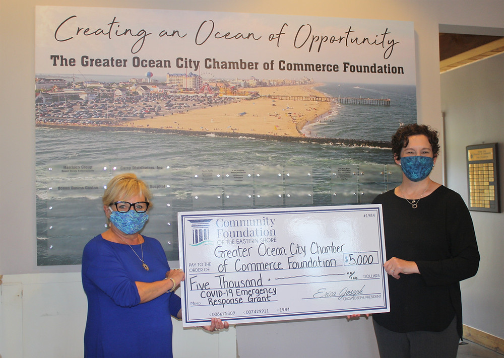Ruth Waters, Greater Ocean City Chamber Foundation President is presented a $5,000 grant by Community Foundation President Erica Joseph to assist with hospitality industry employee safety training amid the COVID-19 pandemic.