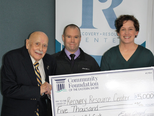 Bob Cook presents Recovery Resource Center grant
