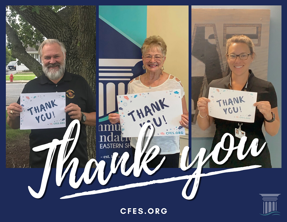 Members of the CFES Board of Directors from across the Lower Shore thank the community and CFES donors for supporting area students through scholarships. Left to Right: Dr. Carolyn Elmore, Dr. Annette Wallace, Duke Marshall.