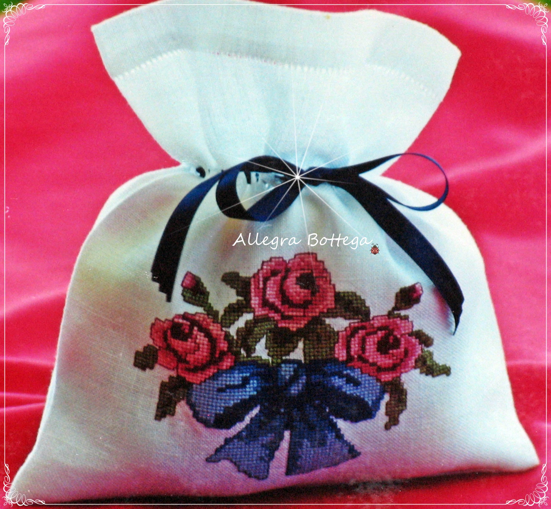Sacchetto porta cotone con rose