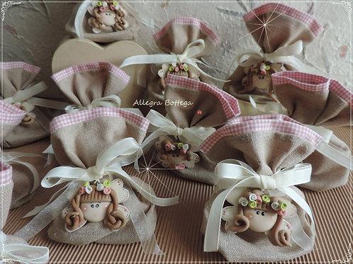 Sacchetti portaconfetti con viso di bimba