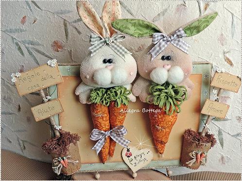 Pannello con i conigli - regole della casa