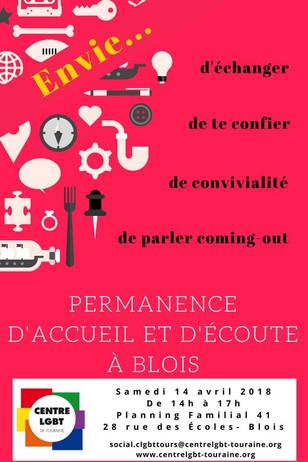 Permanence à Blois : samedi 14 avril