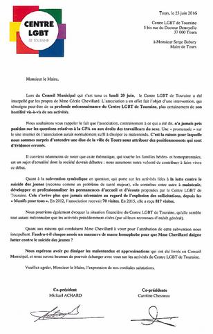 Le Centre LGBT de Touraine écrit au Maire de Tours après les propos ahurissants tenus par une élue