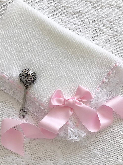 Bella Bellissimo blanket ~ with white lace and pink bow