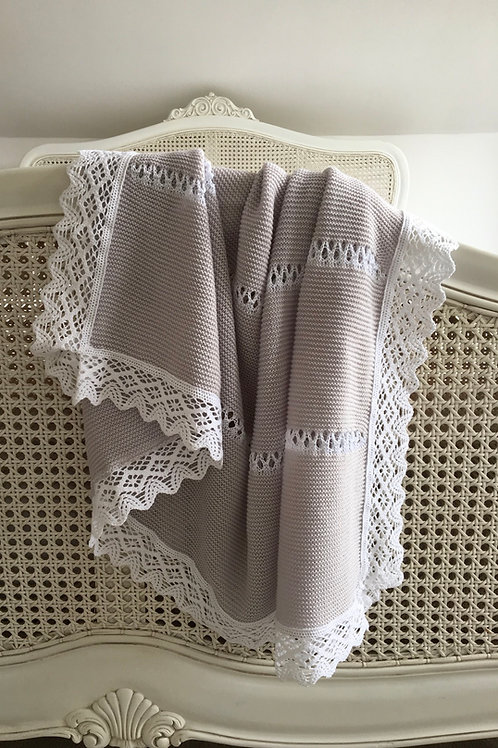 Bella Lace blanket ~ in gorgeous light grey