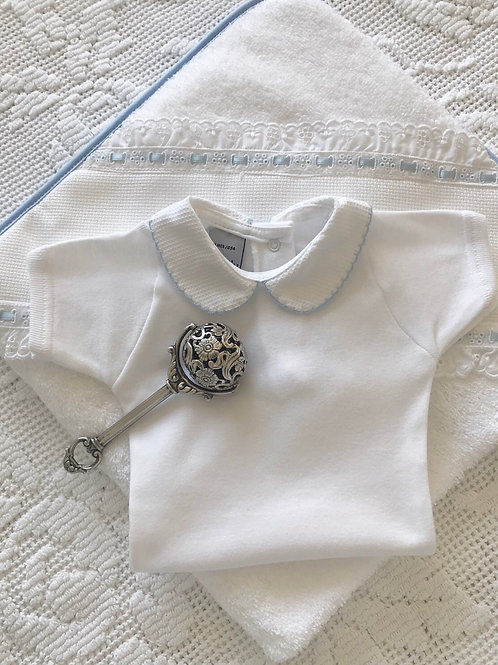 Bella Cotone Peter Pan collar short sleeved vest ~ with blue embroidery