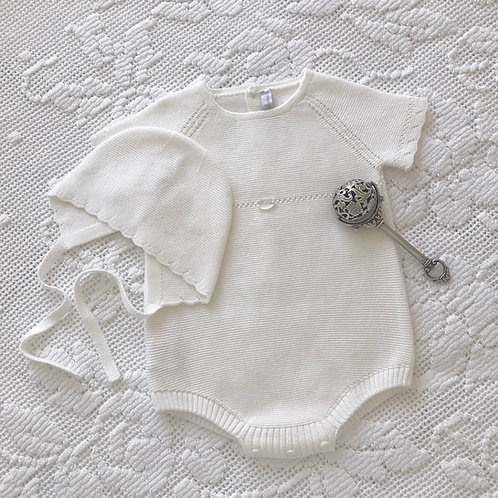 Crotone ~ in ivory (with matching bonnet)