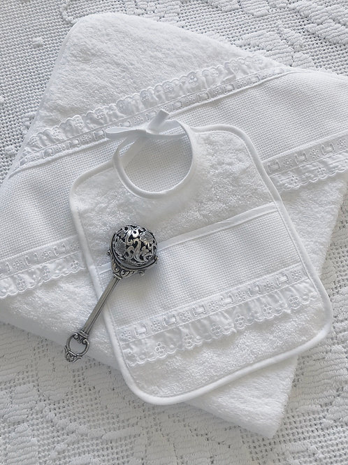 Bella Bambino hooded towel and bib