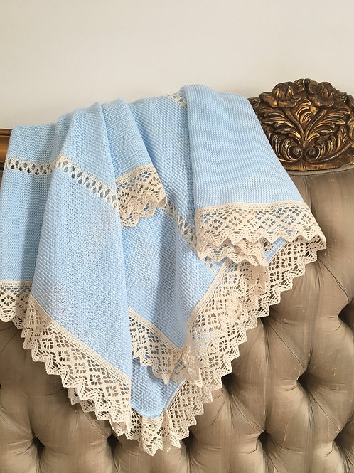 Bella Lace blanket ~ in beautiful blue with cream lace