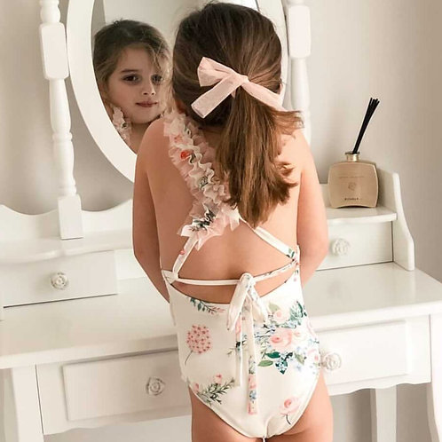 Amalfi Coast swimwear collection - frilly floral tulle swimsuit