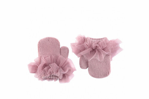 Tulle mittens ~ in dusty pink