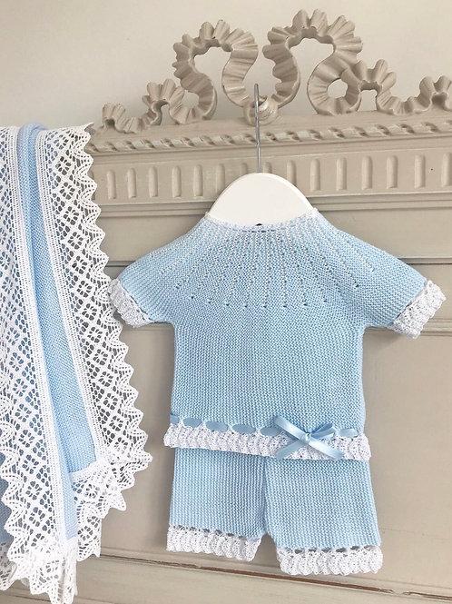 Abetone ~ in blue (shortie set and matching bonnet)