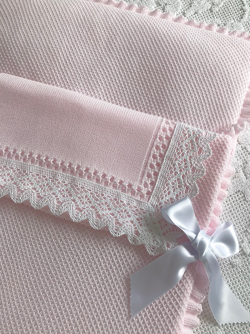 Bella Lace baby nest ~ in pink and white