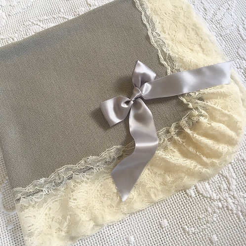 Bella Bellissimo blanket ~ in gorgeous grey with delicate lace detail
