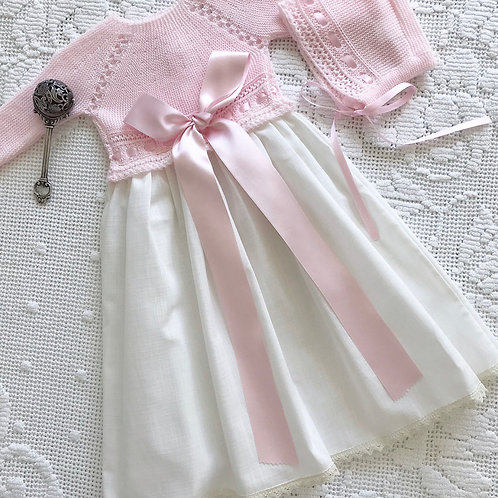 Regal gown ~ in cream and pink (with matching bonnet
