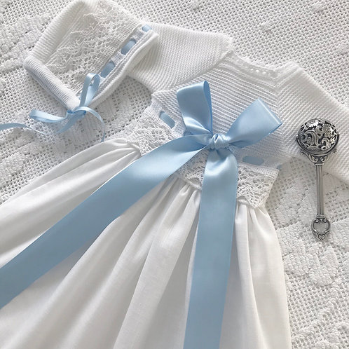 Verona gown ~ in white and blue