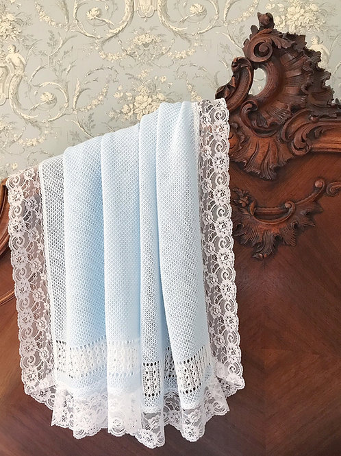 Bella Cartier blanket ~ in beautiful blue with white lace