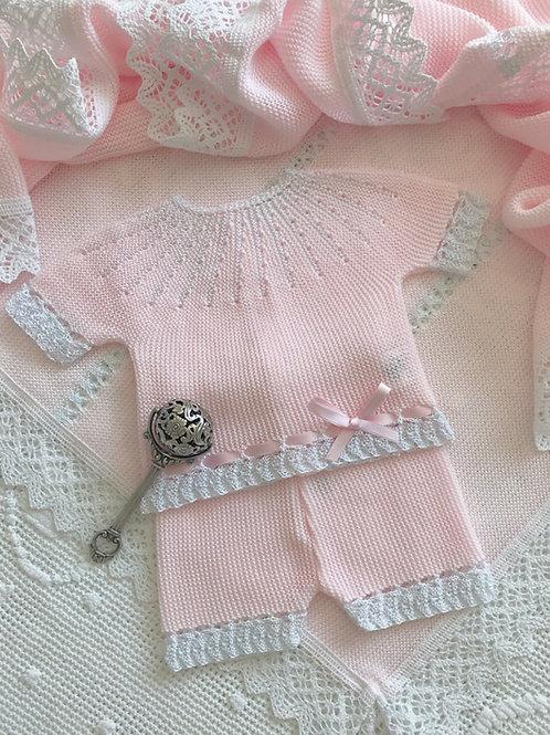 Abetone ~ in pink (shortie set and matching bonnet)