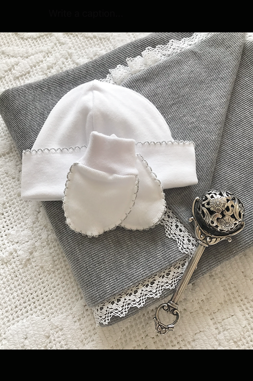 Bella Cotone ~ newborn hat and mittens with grey embroidery