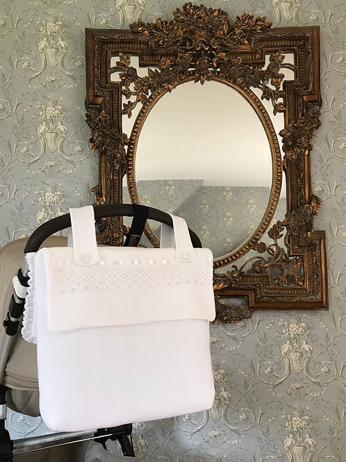 Bella pram bag ~ in pure white