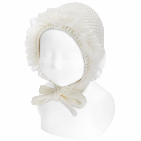 Tulle bonnet ~ in cream