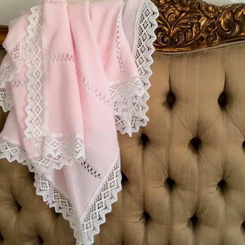 Bella Lace blanket ~ in perfect pink with white lace