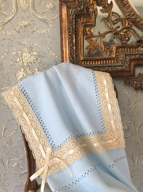 Lucella Lace ~ in blue with beige lace