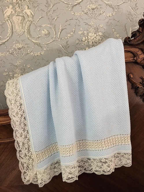 Bella Cartier blanket ~ in beautiful blue with beige lace