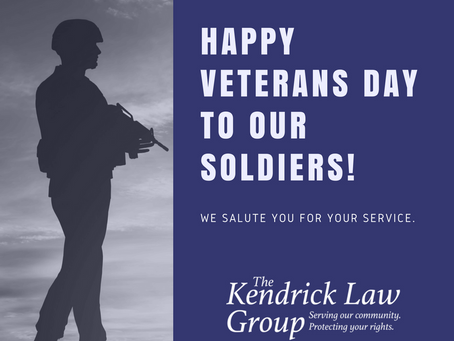 The Kendrick Law Group recognizes and honors veterans on this Veterans Day!