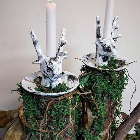 Rustic Deer Candle Holders