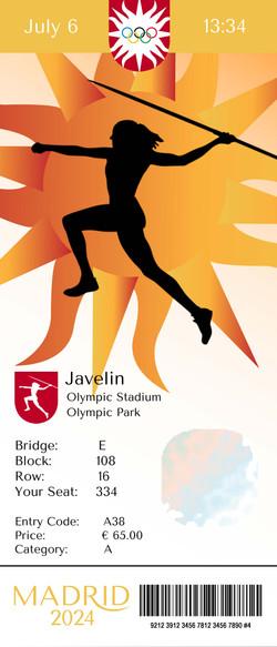 Madrid Olympic Javelin Ticket