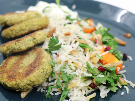 Broccoli Fritters w Spiced Rice