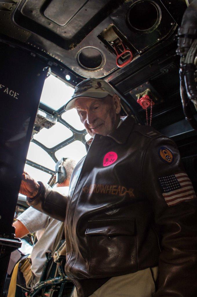 Russ in B-24 cockpit